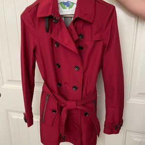 BURBERRY BRIT Classic Short Red Trench Coat Size 6